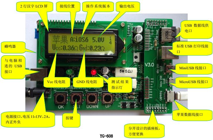 支持 iPhone5,iPad4,iPad mini,iPod nano6,以及普通USB线(标准方型头、MiniUSB头、MicroUSB头)。  超强兼容各种方案的山寨iPhone5数据线,2014版全面支持最新iOS7.0、iPhone 5S、iPhone 5C手机数据线。  采用32位ARM高速处理器设计。  由于USB座使用率很高,容易损坏,所以USB座采用分体设计,方便更换。  使用大电流(1000mA)模拟充电测试。  准确测出电源线电阻,准确测出D+、D-电阻,可以检测出D+、D-内置的